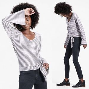 Lucky Brand | Stripe Bell sleeve knot front top
